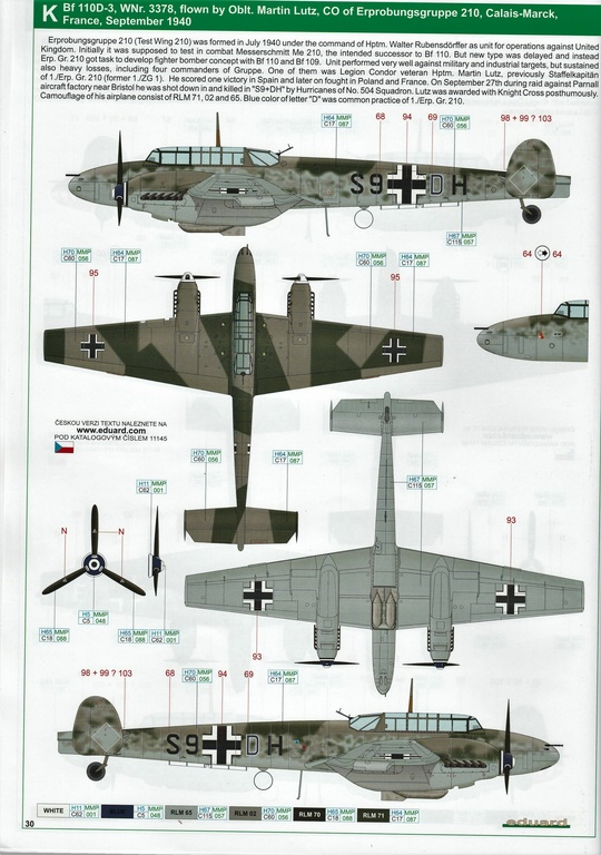 "Eduard-11145-Adlertag-Bf-110-90 ""Adlertag"" Limited Edition Bf-110 von Eduard in 1:48 #11145"