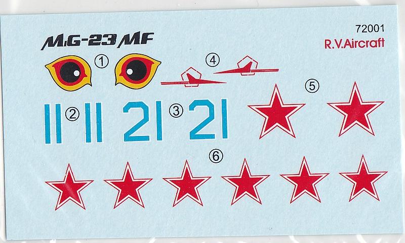 R.V.-Aircraft-72001-MiG-23-MF-6 MiG-23 MF in 1:72 von R.V. Aircraft # 72001