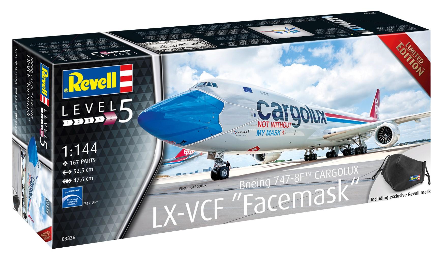 Revell-03836-Boeing-747-8F-CARGOLUX-LX-VCF-Facemask-C-Cargolux-2 Revell Neuheiten 2021