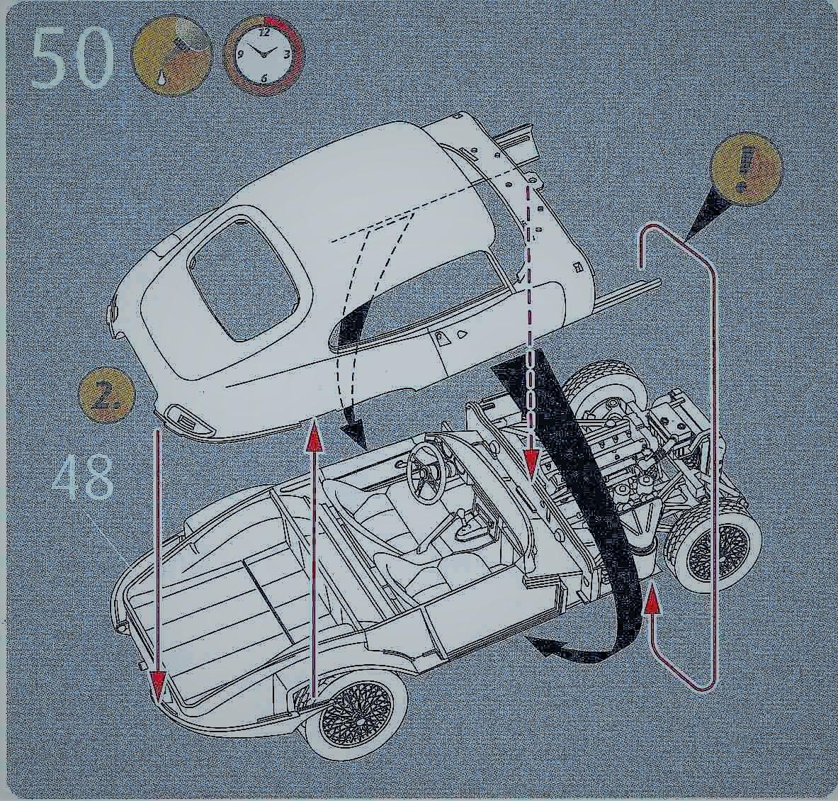 Revell-07668-Jaguar-E-Type-Body-auf-Chassis Jaguar E-Type in 1:24 von Revell # 07668