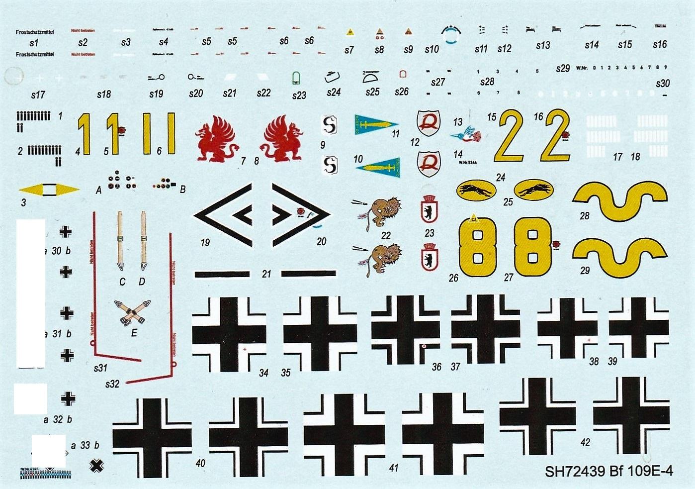 Special-Hobby-SH-72439-Messerschmitt-Bf-109-E-4-Decals-1 Messerschmitt Bf 109 E-4 in 1:72 von Special Hobby # SH 72439