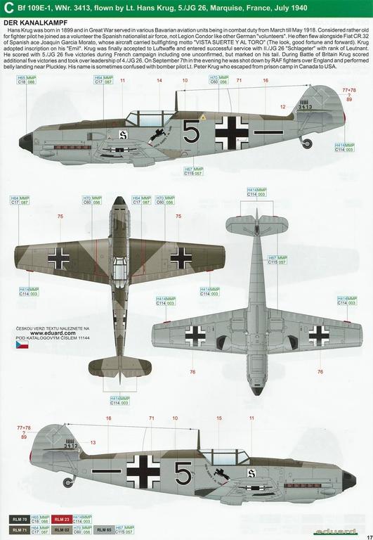 """Eduard-11144-Adlerangriff-34 Eduard Limited Edition """"Adlerangriff"""" (die Bf-109 in der Luftschlacht um England) in 1:48 #11144"""
