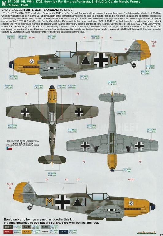 """Eduard-11144-Adlerangriff-44 Eduard Limited Edition """"Adlerangriff"""" (die Bf-109 in der Luftschlacht um England) in 1:48 #11144"""