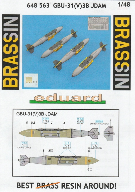 Eduard-648563-GBU-31-JDAM-18 GBU-31(V)3B JDAM-Bombe von Eduard in 1:48 #648563