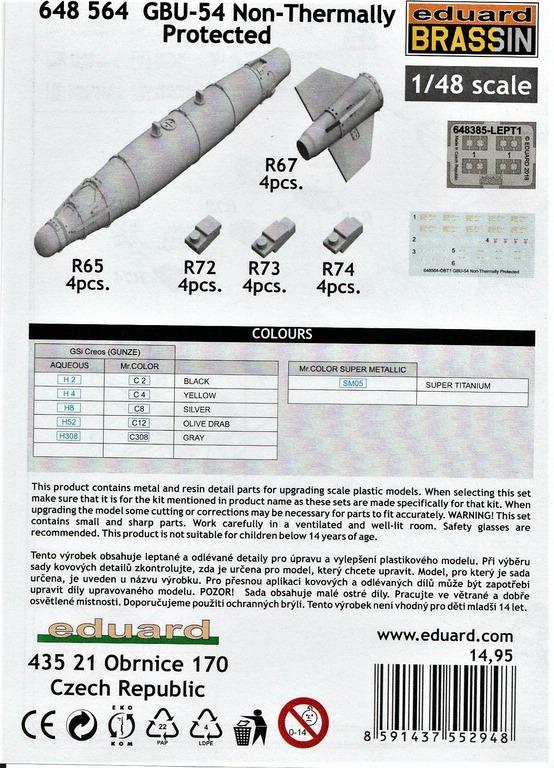 """Eduard-648564-GBU-54-11 GBU-54 """"Non-Thermally Protected"""": Bomben von Eduard Brassin in 1:48 #648564"""