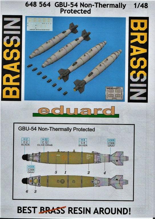 """Eduard-648564-GBU-54-13 GBU-54 """"Non-Thermally Protected"""": Bomben von Eduard Brassin in 1:48 #648564"""