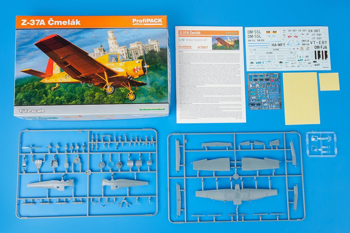 Eduard-7097-Z-37-Cmelak-ProfiPack-Inhalt Let Z-37 Cmelak als ProfiPack in 1:72 von Eduard # 7097