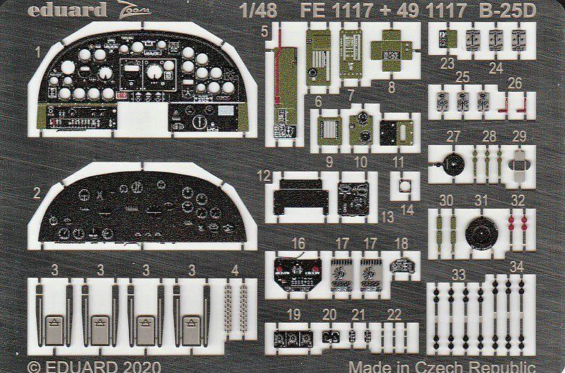 Eduard-FE-1117-und-1118-B-25-Accurate-REvell-3 Ätzteile und Masken für die B-25D (Revell/Accurate Miniatures) von Eduard in 1:48
