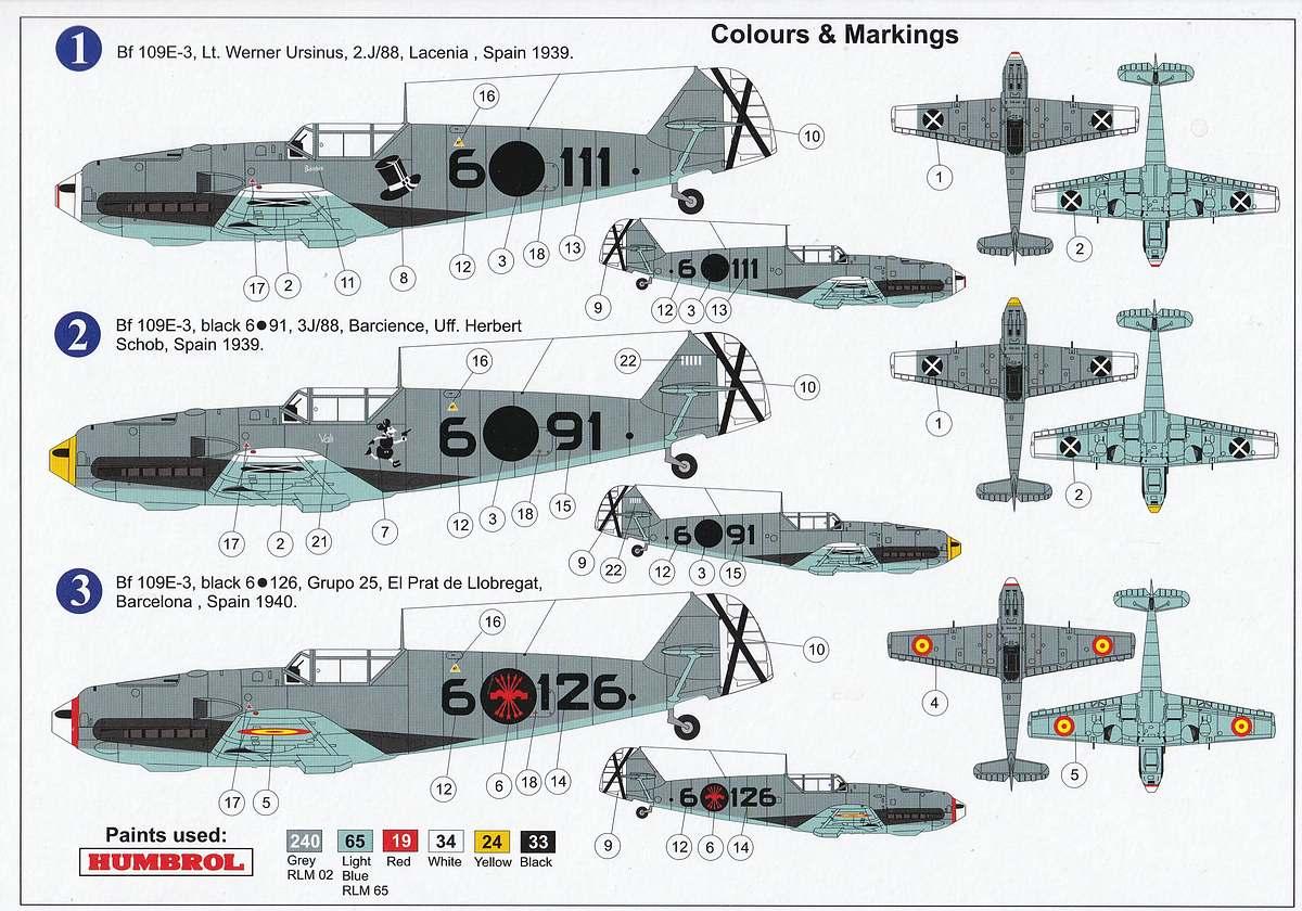 AZ-Model-7660-Bf-109-E-3-over-Spain-Farben-6 Messerschmitt Bf 109 E-3 over Spain in 1:72 von AZ Model # 7660