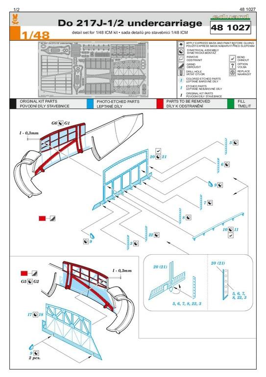 EDuard-Zubehoer-Do-217-14 Details für ICM Do 217 J von Eduard in 1:48 #FE1110 #FE1111 #EX704 #481027