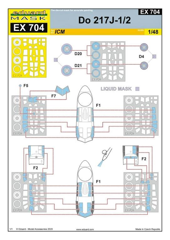 EDuard-Zubehoer-Do-217-9 Details für ICM Do 217 J von Eduard in 1:48 #FE1110 #FE1111 #EX704 #481027
