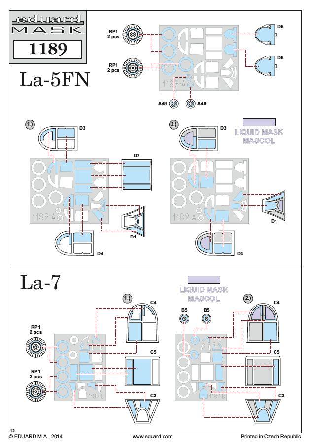 Eduard-1189-Maskenplan La-5FN und La-7 in 1:48 von Eduard #1189