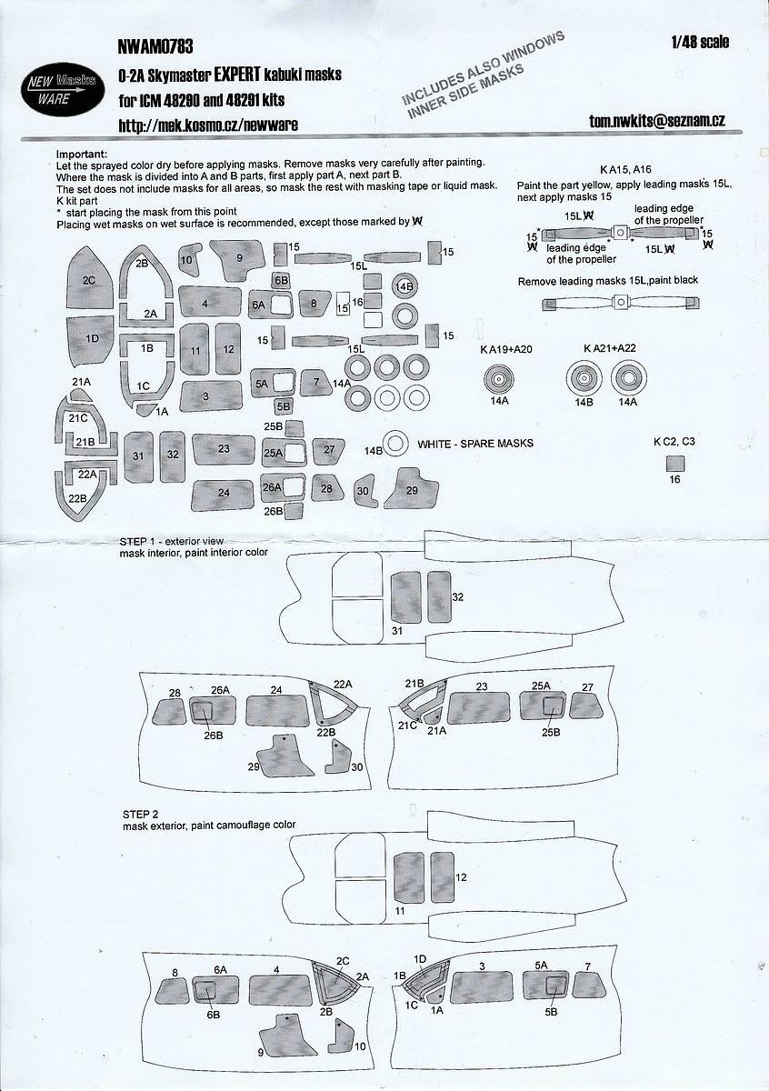 NewWare-NW-783-Masken-fuer-ICM-O-2A-1 Masken für die Skymaster in 1:48 von New Ware #NW 0783