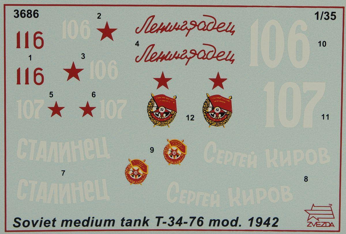 Zvezda-3686-T-34-76-Modell-1942-33 T-34/76 in 12:35 von Zvezda # 3686