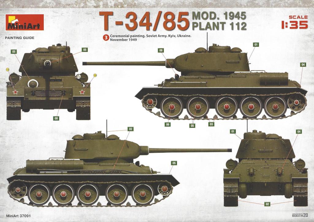 Decalvarianten2 T-34/85 Mod. 1945 Plant 112 1:35 Miniart (#37091)