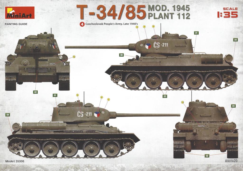Decalvarianten3 T-34/85 Mod. 1945 Plant 112 1:35 Miniart (#37091)
