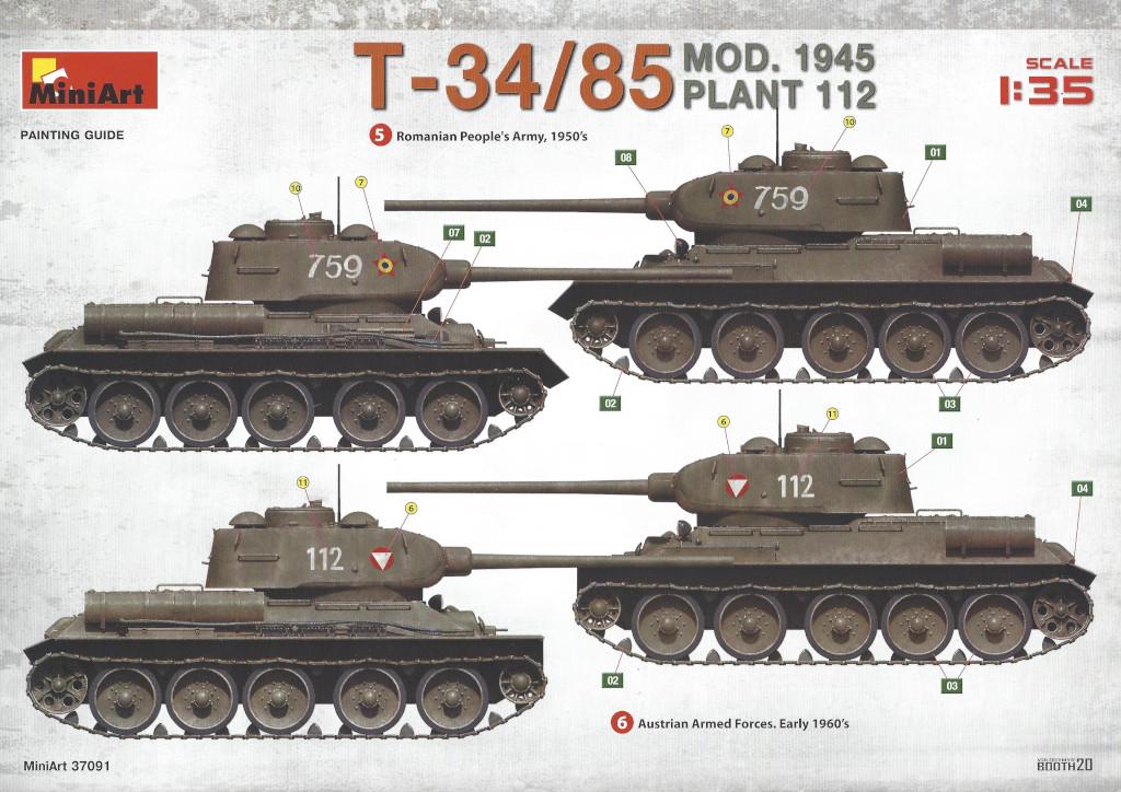 Decalvarianten4 T-34/85 Mod. 1945 Plant 112 1:35 Miniart (#37091)