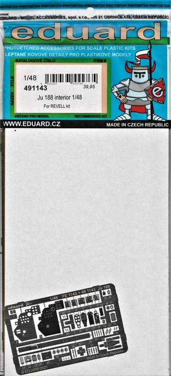 Eduard-481143-Ju-188-Revell-2 Ätzteile und Masken von Eduard für Revells Ju 188 in 1:48 #491143, FE1144