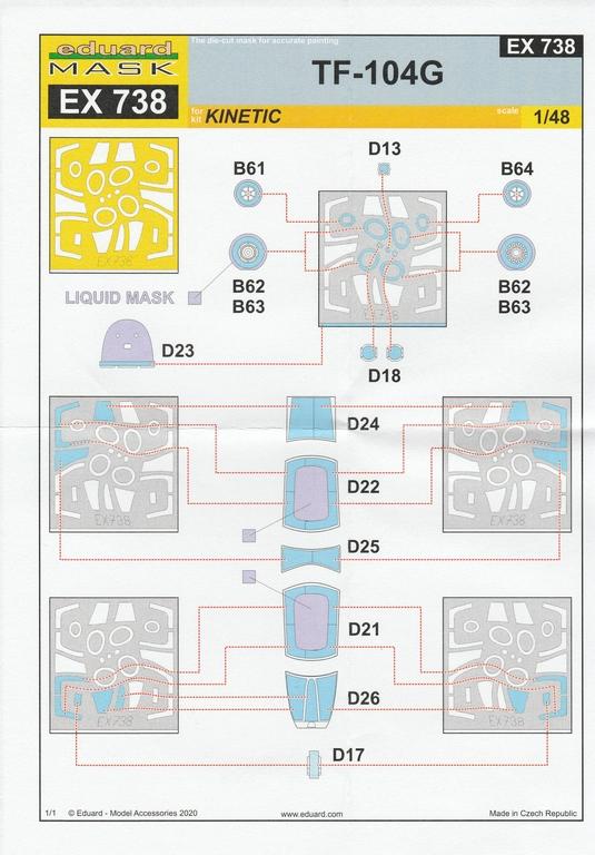Eduard-491139-Detailsets-fuer-TF-104G-Kinetic-18 Ätzteile und Masken für Kinetics TF-104G Starfighter von Eduard in 1:48 #491139, #FE1140, #EX738 und #EX739