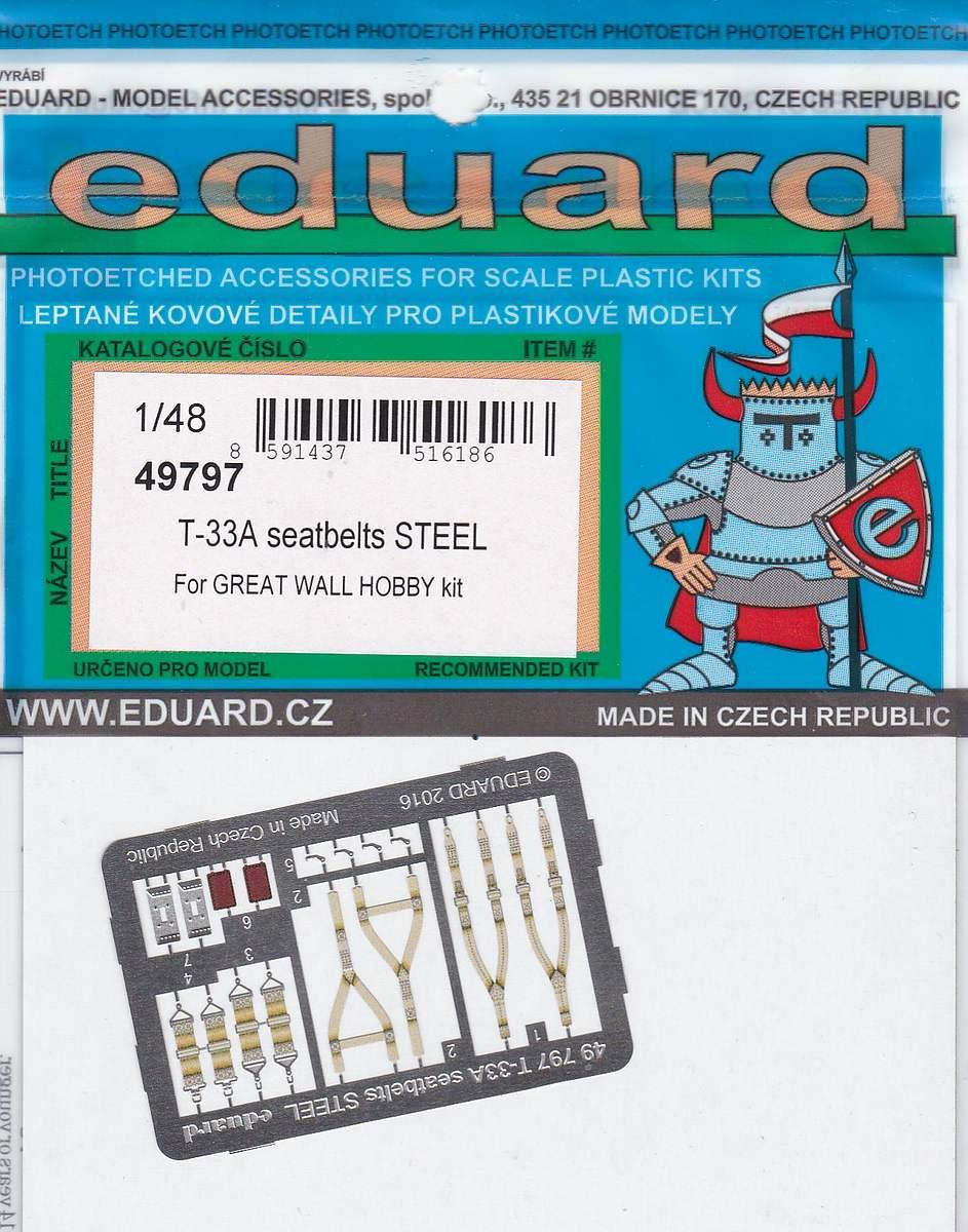 Eduard-49797-T-33A-Seatbelts-STEEL-1 EDUARD Detailsets für die T-33A von GWH # 49796, FE 796 etc.