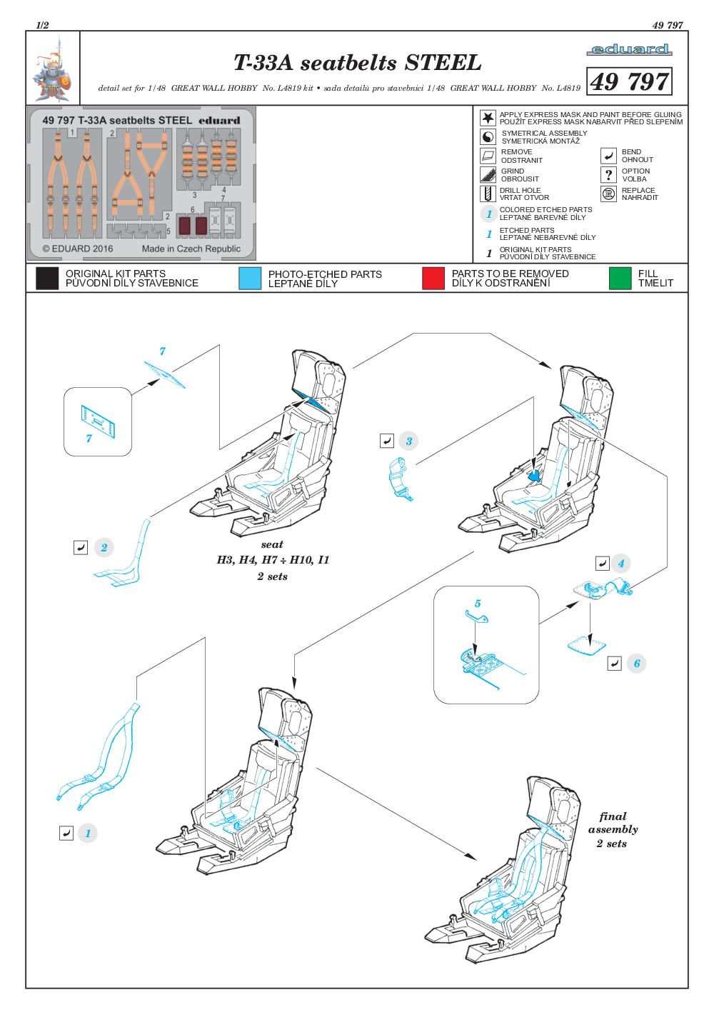 Eduard-49797-T-33A-Seatbelts-STEEL EDUARD Detailsets für die T-33A von GWH # 49796, FE 796 etc.
