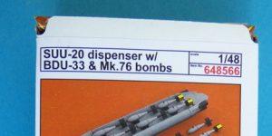 SUU-25 Flare Dispenser und BDU 33 bzw. Mk. 76 Übungsbomben von Eduard in 1:48 #648566 und #648567