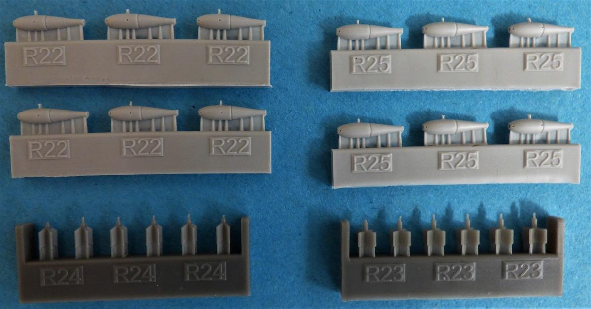Eduard-648566-und-648567-SUU-20-Dispenser-11 SUU-25 Flare Dispenser und BDU 33 bzw. Mk. 76 Übungsbomben von Eduard in 1:48 #648566 und #648567