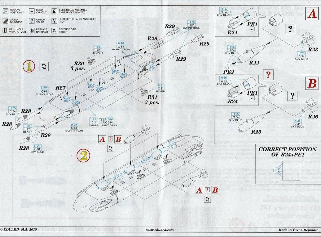 Eduard-648566-und-648567-SUU-20-Dispenser-15 SUU-25 Flare Dispenser und BDU 33 bzw. Mk. 76 Übungsbomben von Eduard in 1:48 #648566 und #648567