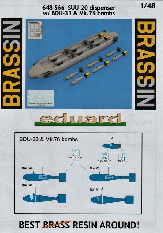 Eduard-648566-und-648567-SUU-20-Dispenser-16 SUU-25 Flare Dispenser und BDU 33 bzw. Mk. 76 Übungsbomben von Eduard in 1:48 #648566 und #648567