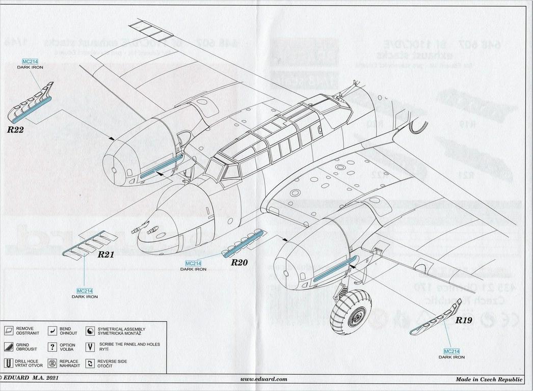 Eduard-648607-Bf-110-C-D-E-exhaust-und-Masken-7 Bf-110 C/D/E Auspuffanlage und Masken von Eduard in 1:48 #648607 und #EX752