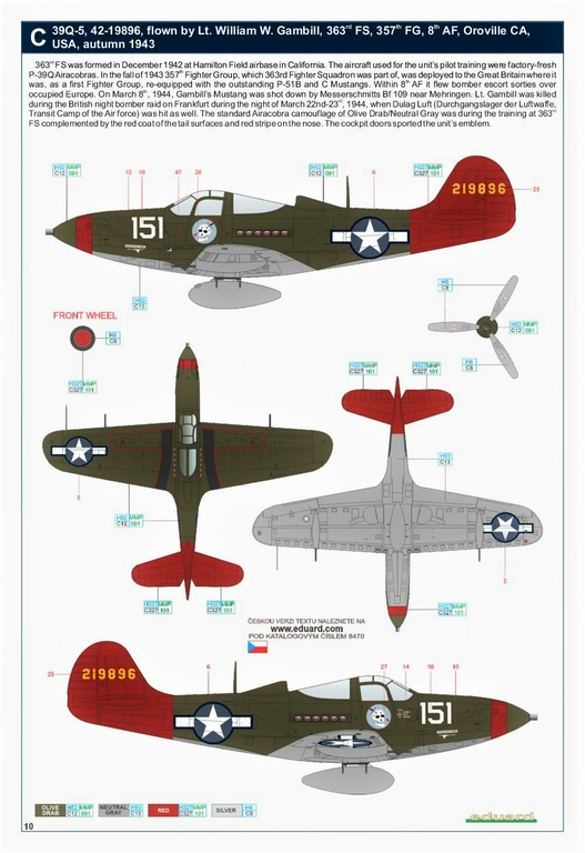 Eduard-8470-P-39Q-WEEKEND-30 P-39Q Airacobra als Weekend-Edition von Eduard in 1:48 #8470