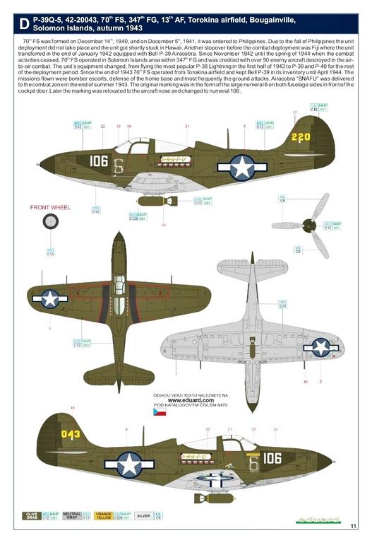 Eduard-8470-P-39Q-WEEKEND-31 P-39Q Airacobra als Weekend-Edition von Eduard in 1:48 #8470