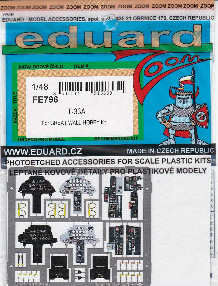 Eduard-FE-796-T-33A-ZOOM-1 EDUARD Detailsets für die T-33A von GWH # 49796, FE 796 etc.
