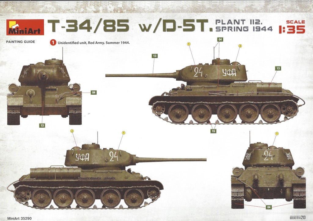 A02 T-34/85 w/D-5T Plant 112 Spring 1944 1:35 Miniart (#35290)
