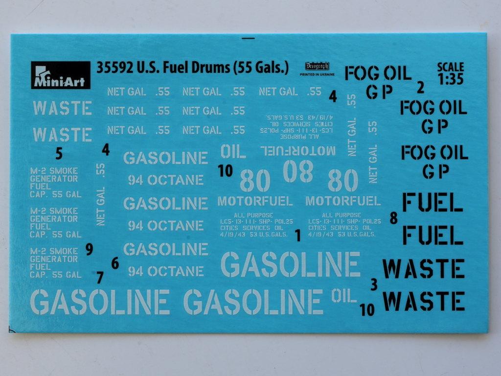 Decals U.S. Fuel Drums 55 Gals. 1:35 Miniart (#35592)