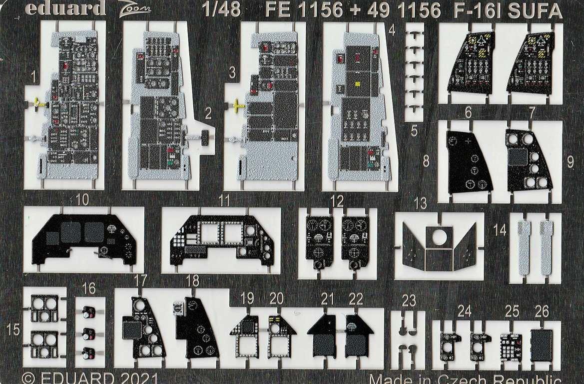 """Eduard-491156-Kinetic-F-16-Sufa-2 Ätzteile von Eduard für die F-16I """"Sufa"""" von Kinetic in 1:48 #491156"""
