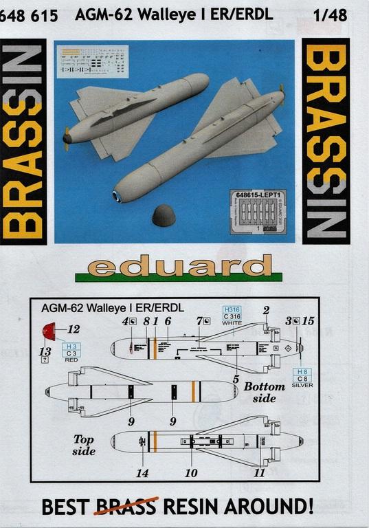 Eduard-648615-AGM-62-Walleye-I-11 AGM-62 Walleye I ER/ERDL Lenkbombe von Eduard in 1:48 #648615