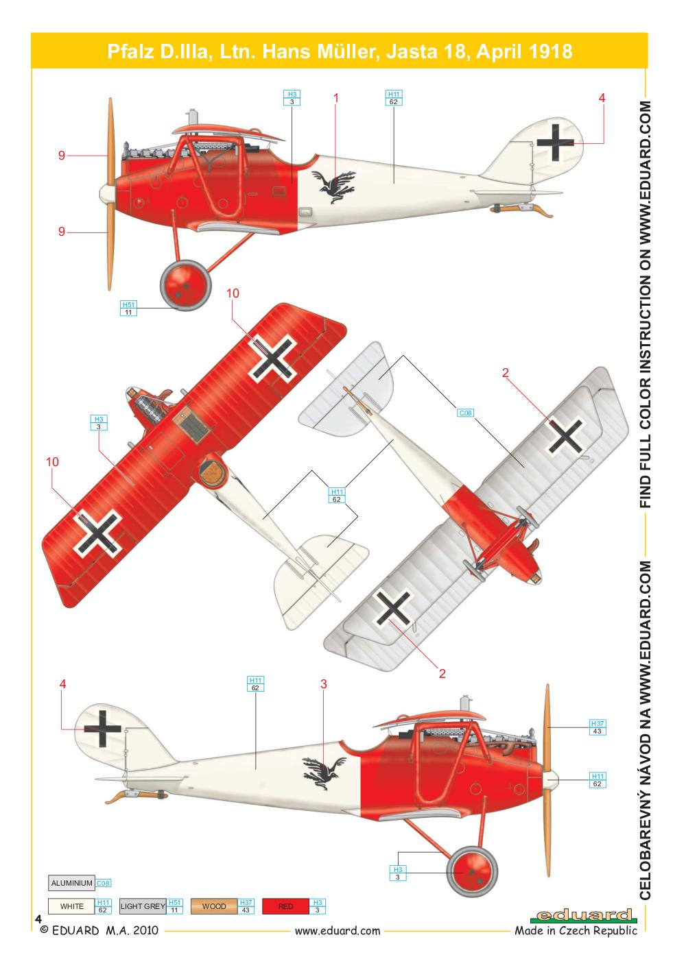 Eduard-8416-Pfalz-D.IIIa-WEEKEND-Bauanleitung-3 Pfalz D.IIIa in 1:48 von Eduard als WEEKEND-Edition #8414