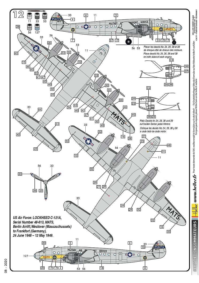 Heller-80382-Lockheed-C-121A-Constellation-Berlin-14 Lockheed C-121A Constellation in 1:72 von Heller #80382