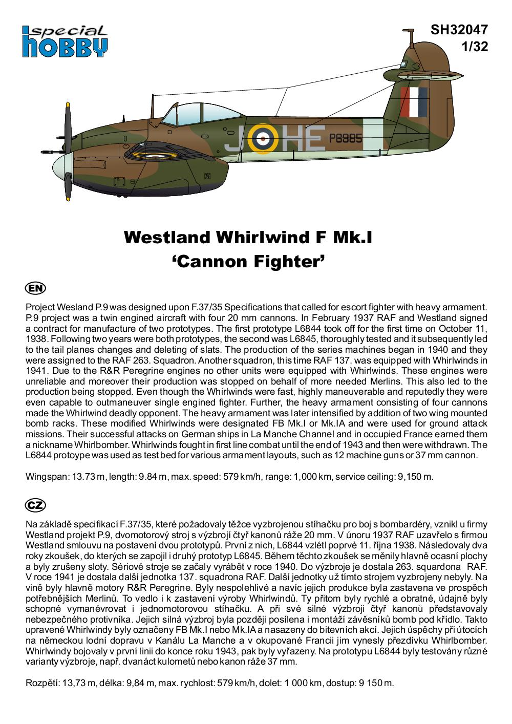 Special-Hobby-SH-32047-Westland-Whirlwind-F.Mk_.I-Bauanleitung-1 Westland Whirlwind F.Mk.I in 1:32 von Special Hobby #32047