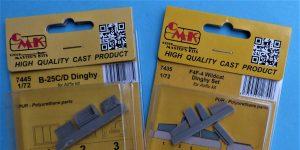 Zurüstsets von CMK mit Dinghy's für die B-25 Mitchell und die F4F-4 Wildcat von Airfix in 1:72 #7445 und #7435