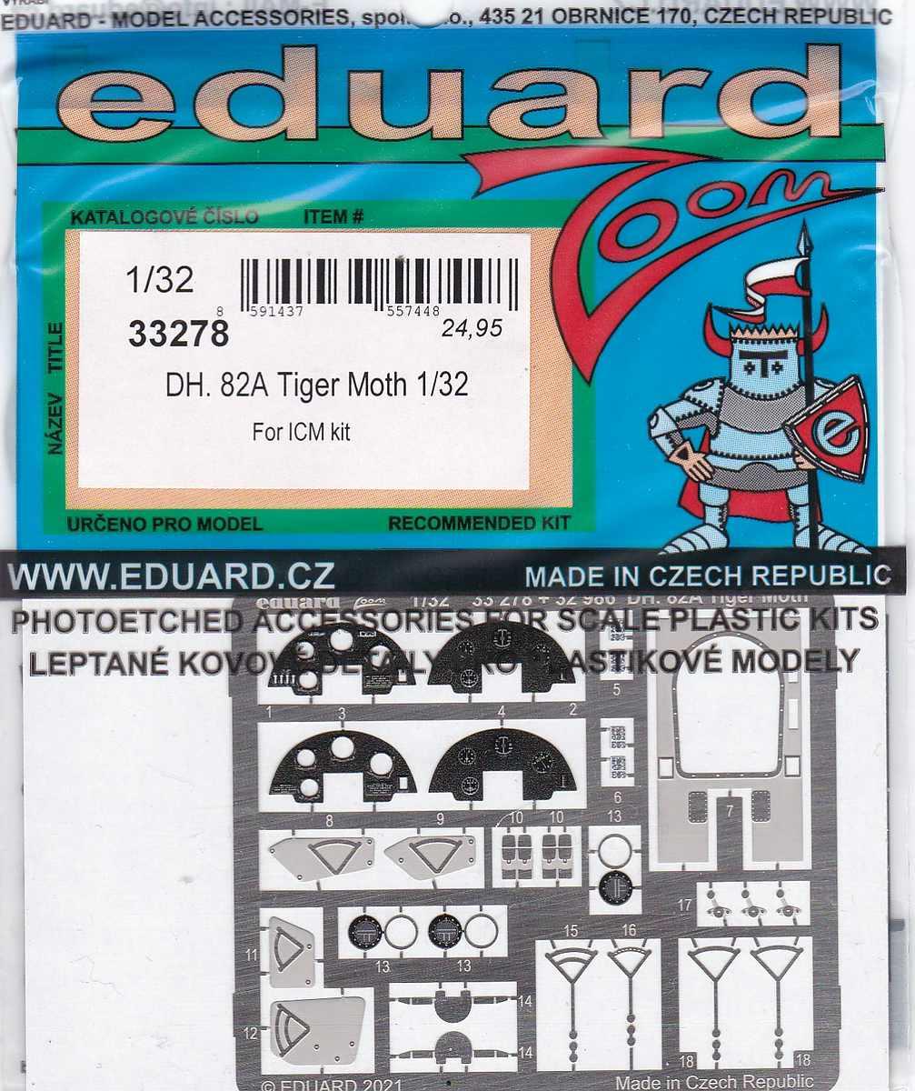 Eduard-33278-DH.82A-Tiger-Moth-ZOOM Eduard-Zubehör für die Tiger Moth in 1:32 von ICM