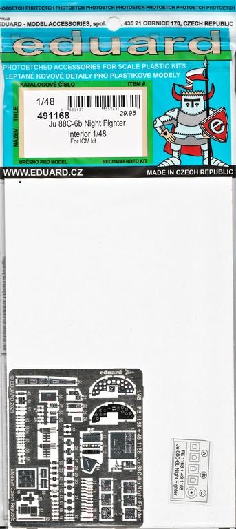 Eduard-491168-und-EX767-fuer-Ju-88-ICM-2 Ätzteile und Masken für die ICM-Ju88C6b als Nachtjäger von Eduard in 1:48 #491168 und EX767