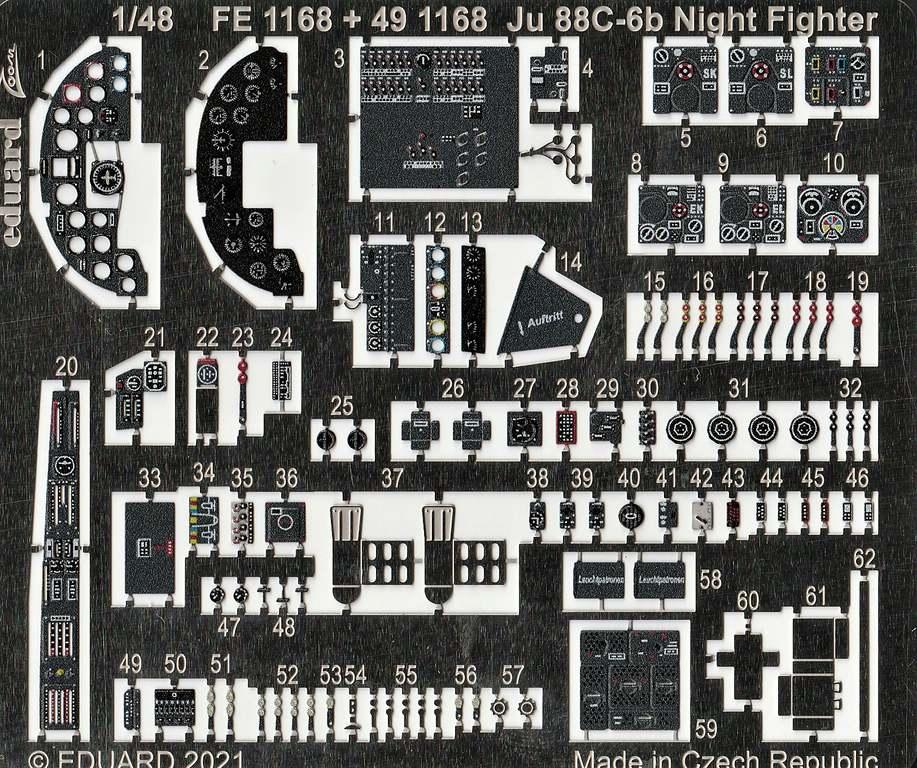 Eduard-491168-und-EX767-fuer-Ju-88-ICM-4 Ätzteile und Masken für die ICM-Ju88C6b als Nachtjäger von Eduard in 1:48 #491168 und EX767