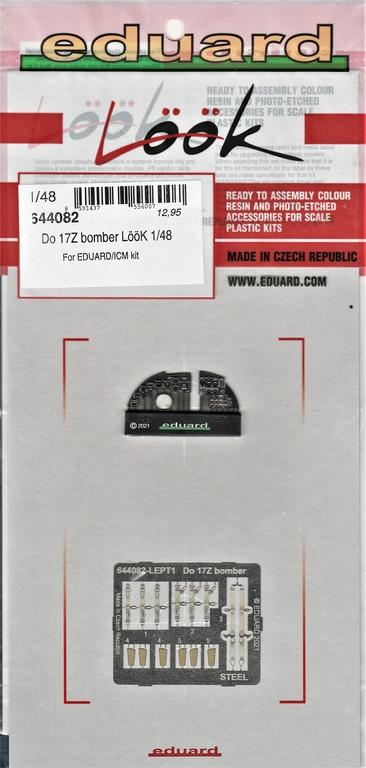 Eduard-648608-648609-644082-fuer-ICM-Do-17Z-24 Detaillierungsset von Eduard für die Dornier Do 17Z in 1:48 #648608, #648609, #644082