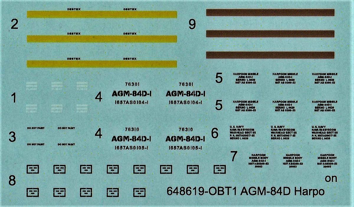 """Eduard-648619-AGM-84D-Harpoon-11 AGM-84D """"Harpoon"""" Lenkrakete von Eduard in 1:48 #648619"""