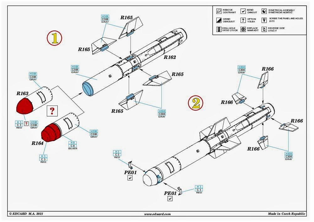 """Eduard-648619-AGM-84D-Harpoon-13 AGM-84D """"Harpoon"""" Lenkrakete von Eduard in 1:48 #648619"""