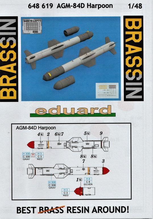 """Eduard-648619-AGM-84D-Harpoon-14 AGM-84D """"Harpoon"""" Lenkrakete von Eduard in 1:48 #648619"""