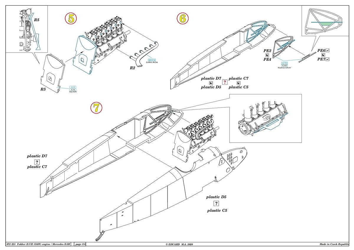 Eduard-672223-Fokker-D.VII-Mercedes-Motor-11 Motoren für die Fokker D.VII in 1:72 von Eduard # 672223 und 224