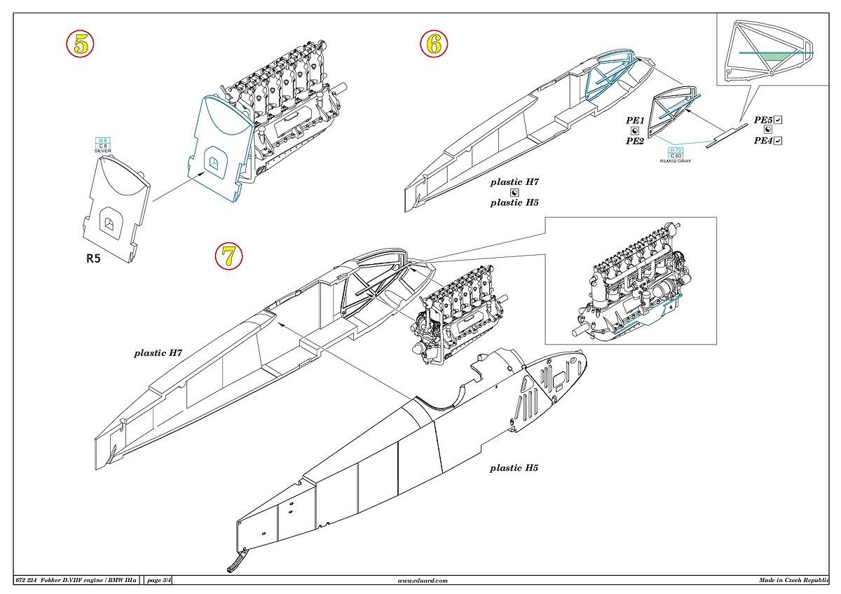 Eduard-672224-Fokker-D.VII-BMW-Motor-12 Motoren für die Fokker D.VII in 1:72 von Eduard # 672223 und 224